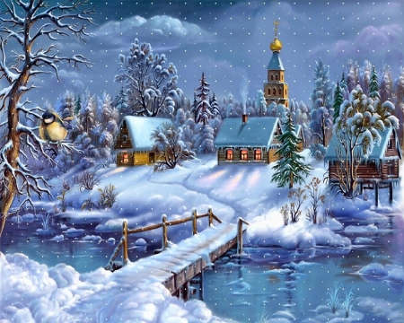 winter snows - house, bridge, snow, church, river