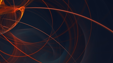 Orange Light Trails - light trails, wavy lines, abstract, 3d abstract