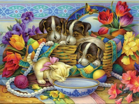 Puppies and Kitten - flowers, bowl, dogs, basket, painting