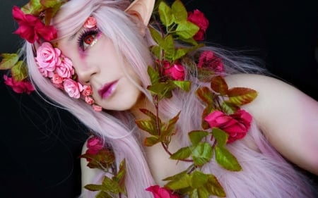 Magical Rose - beautiful, roses, girl, makeup, elf