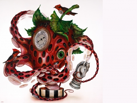 Redlores - art, red, octopus, strawberry, clock, caracatita, fruit, fantasy, vara, green, greg simkins, summer, painting, surreal, white, pictura