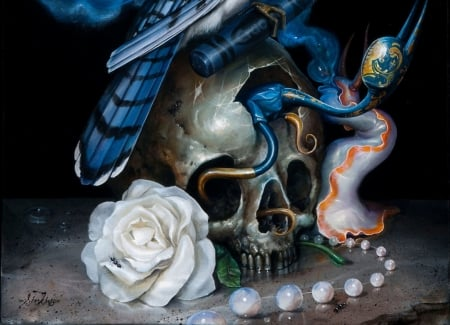 :) - bones, surreal, white, blue, art, luminos, rose, black, fantasy, feather, greg simkins, skull