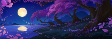 Moonlight - sakura, luna, spring, cherry blossom, jane li, water, moon, fantasy, tree, purple, dark, na, pink, sakurqa, night, blue, reflection