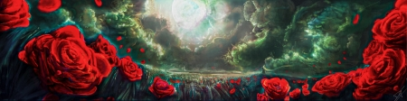 The eye of the storm - mcloud, red, art, cloud, rose, luminos, view from down, storm, sky, dylan fabbri, moon, fantasy, green