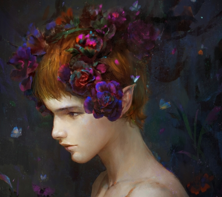 Elf boy - dark, elf, flower, face, portrait, user 4060, luminos, boy, fantasy, purple