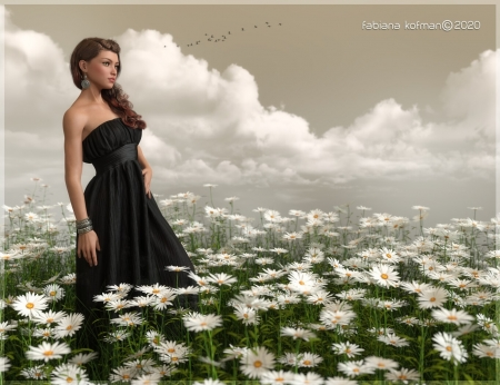 The better hopes - cloud, fantasy, green, flower, fabiana kofman, white, field, daisy, girl