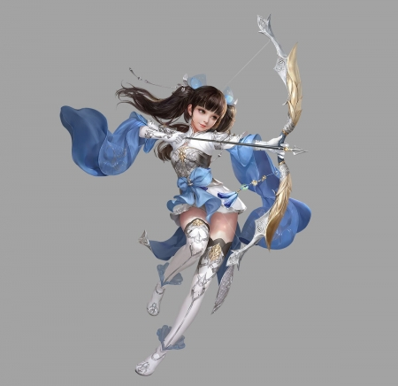Archer girl - girl, grey, archer, yunguan yunguan, blue, frumusete, luminos, superb, cute, fantasy, gorgeous