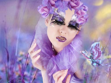 Fantastic Purple - the WOW factor, purple orange attire, etheral women, flower crown wreath, womens wardrobe, women are special, female trendsetters, photo album, funky hair face art