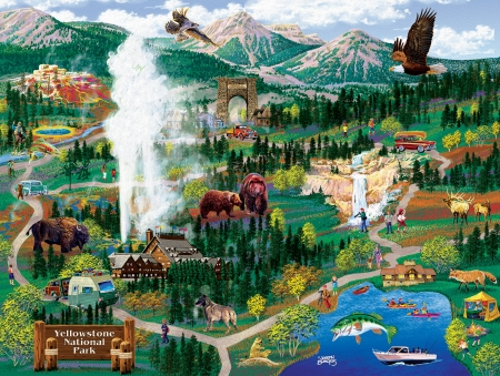 Yellowstone Adventures - waterfall, bears, lake, eagles, fish, buffalo, artwork, deer, cars, boats, fox, mountains, painting