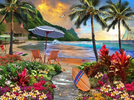 Hawaiian Life - art, beach, digital, umbrella, flowers, sea, palms