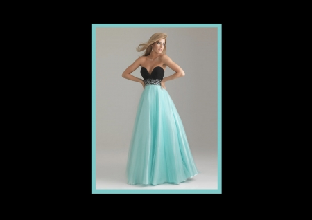 Black & Turquoise Gown - jeweled embellishment, wind, turquoise, blond, earrings, black bodice, long hair
