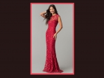 Red Lacey Prom Dress