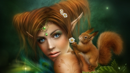 Forest Elf - digital, art, squirrel, girl