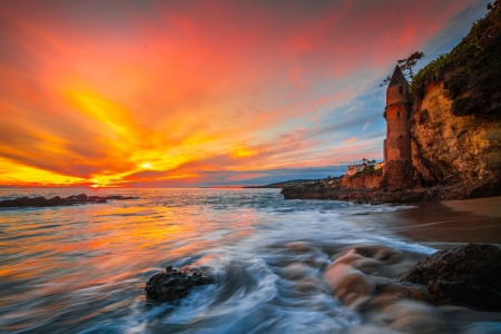 Sunset on Victoria Beach Castle - beach, sunset, usa, castle
