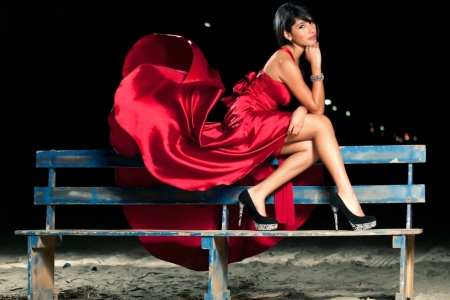 The Lady in Red - brunette, high heels, dress, model, bench