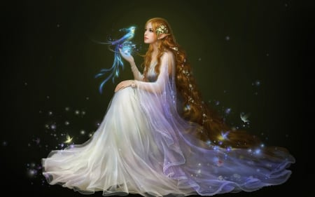Beautiful princess - abstract, white, princess, dress, background, ginger, long, black, billowy, hair, fantasy, flowing, beauty