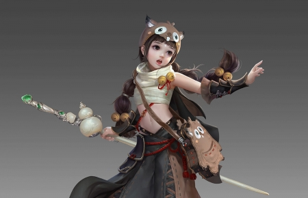 Fantasy girl - cute, fantasy, girl, yunguan yunguan, grey