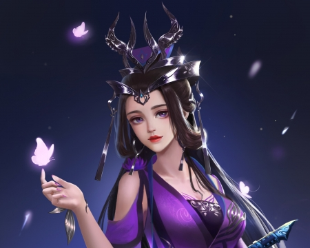 Fantasy girl - lemon yang, frumusete, purple, girl, luminos, butterfly