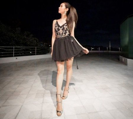 Alodia Gosiengfiao - spaghetti straps, earrings, lace top, black, pony tail, short black skirt, barbie look, brunette, high heels, black lace underskirt, night time shot