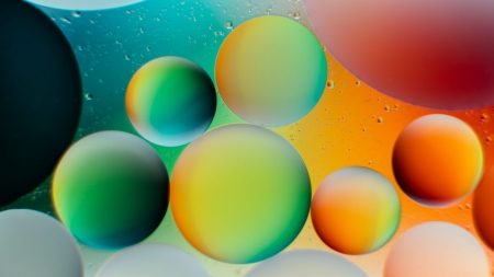 Abstract - water, oil, green, orange, wengang zhai, drops, abstract
