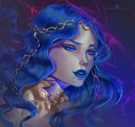 Beauty - maria ratih, blue, art, fantasy, girl, luminos, face