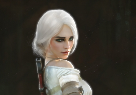Ciri - the witcher, fantasy, girl, kirill repin, face, ciri, white