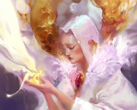 Fairy - thomas chamberlain keen, art, fantasy, luminos, girl, hand, white, fairy, yellow