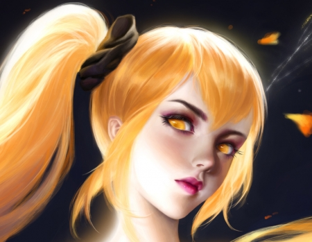 Fairy - frumusete, fu sang, luminos, girl, yellow, face, fairy, art, superb, gorgeous