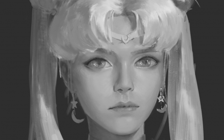 Sailor Moon - face, portrait, link long, white, art, earrings, black, manga, fantasy, bw, anime, sailor moon