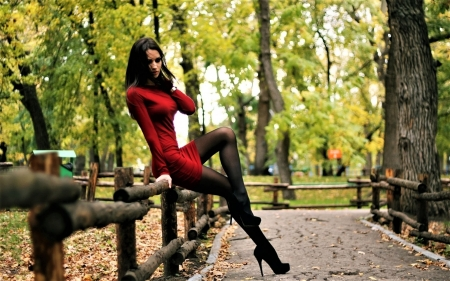 ღ - red, model, girl, outdoor