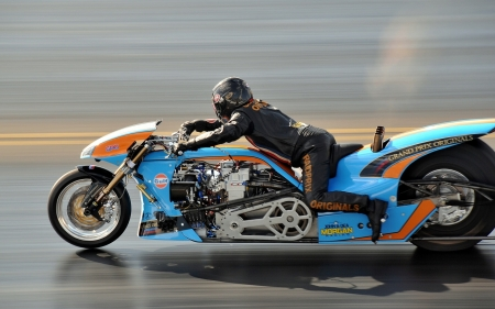 Drag racing - photography, sport, blue, motorcycle