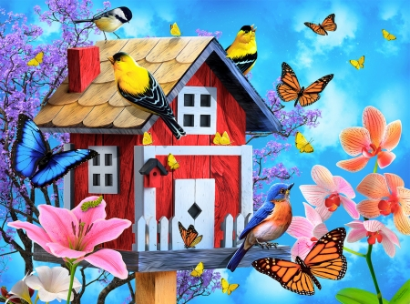 Red birdhouse - colorful, art, red, birds, beautiful, fun, butterflies, joy, paradise, gathering, birdhouse, flowers, garden, friends