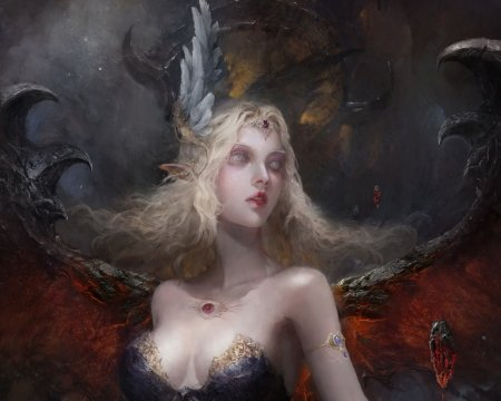 Demoness - red, art, fantasy, demon, benmoran art, wings, girl, dark
