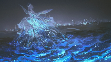 Fairy - girl, anime, manga, fairy, sea, blue, wings, water, fantasy, night