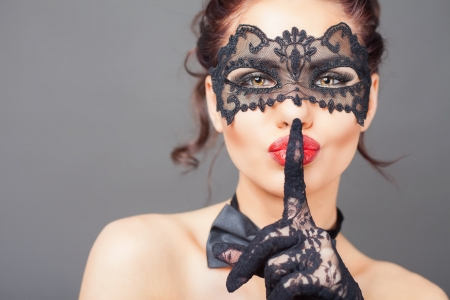 ♥ - lace, glove, girl, model, face, mask, woman