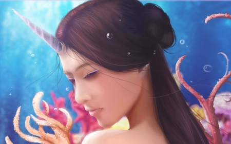 Narhwal - water, fantasy, girl, luminos, unicorn, face, pink, blue, seleniss art
