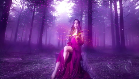 Lost spirit of the forest - spirit, forest, fantasy, ilkgul caylak, purple, luminos, girl, pink