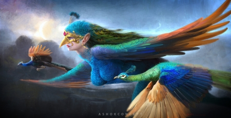 Peacock Queen - art, wings, luminos, queen, peacock, superb, mor rani, fantasy, girl, green, bird, flying, pasari, gorgeous, blue