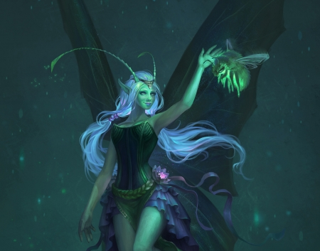 Fairy - bee, elvira shatunova, fantasy, wings, green, girl, joya filomena, fairy, luminos