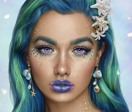 Mermaid - art, frumusete, luminos, earrings, mermaid, nelly jimenez, superb, vara, girl, green, summer, face, siren, jewel, gorgeous, blue