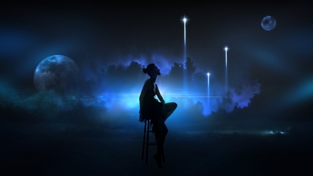 ♥ - stars, fantasy, luminos, girl, black, sky, silhouette, blue, frumusete