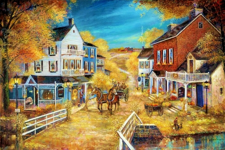 Harvest Village - fence, houses, painting, cart, road, trees, horses, artwork