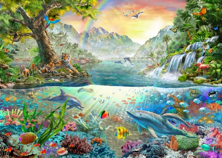 Sea And Land Paradise - fish, paradise, sea, puzzle, land, trees