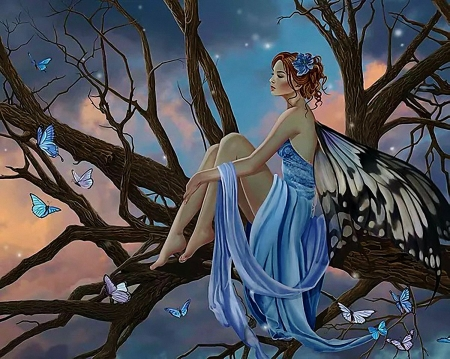 Forest Fairy - art, wings, tree, girl, digital, butterflies, sunset, sky