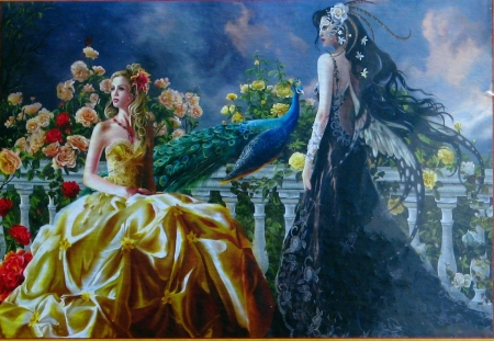 Gothic Fairies - art, peacock, flowers, girls, digital