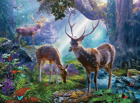 Happy Buck - deer, buck, doe, puzle, wildflife, colors, jigsaw
