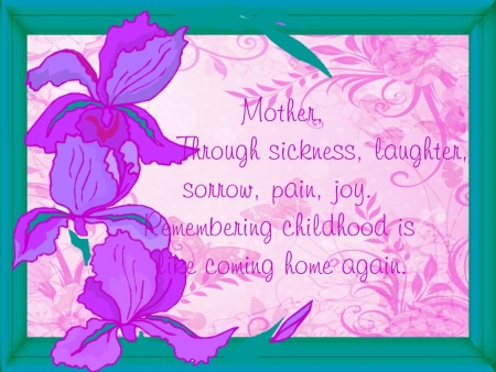 Mother - pink, text, Purple, green, Lilac, coral, peach