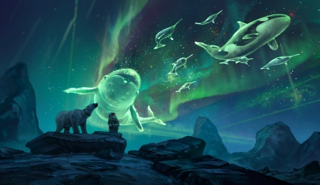 Northern Light Whales - green, beautiful, aurora borealis, bears, Fantasy, Rocks, Digutal, northern lights, sky, blue