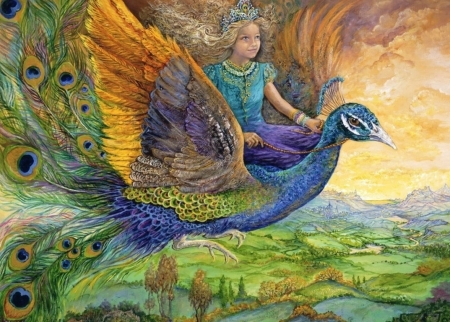 Peacock princess - princess, art, wings, orange, peacock, josephine wall, fantasy, green, girl, bird, feather, paun, pasari, blue