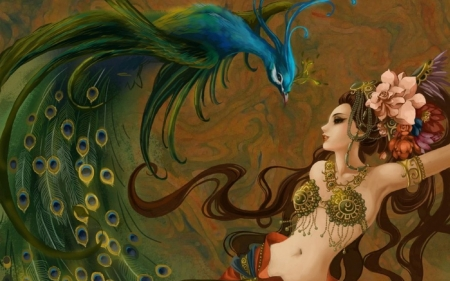 Peacock dancer - girl, bird, paun, pasari, peacock, dancer, art, fantasy, green, feather, blue
